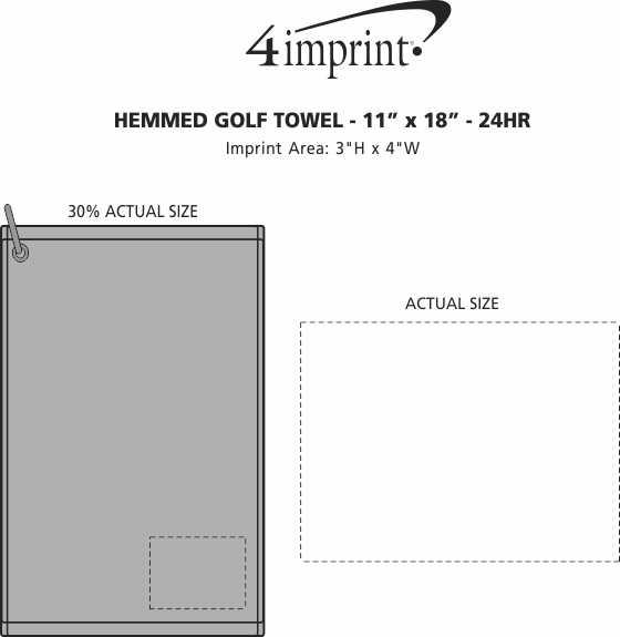 "Imprint Area of Hemmed Golf Towel - 11"" x 18"" - 24 hr"