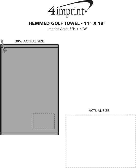 "Imprint Area of Hemmed Golf Towel - 11"" x 18"""