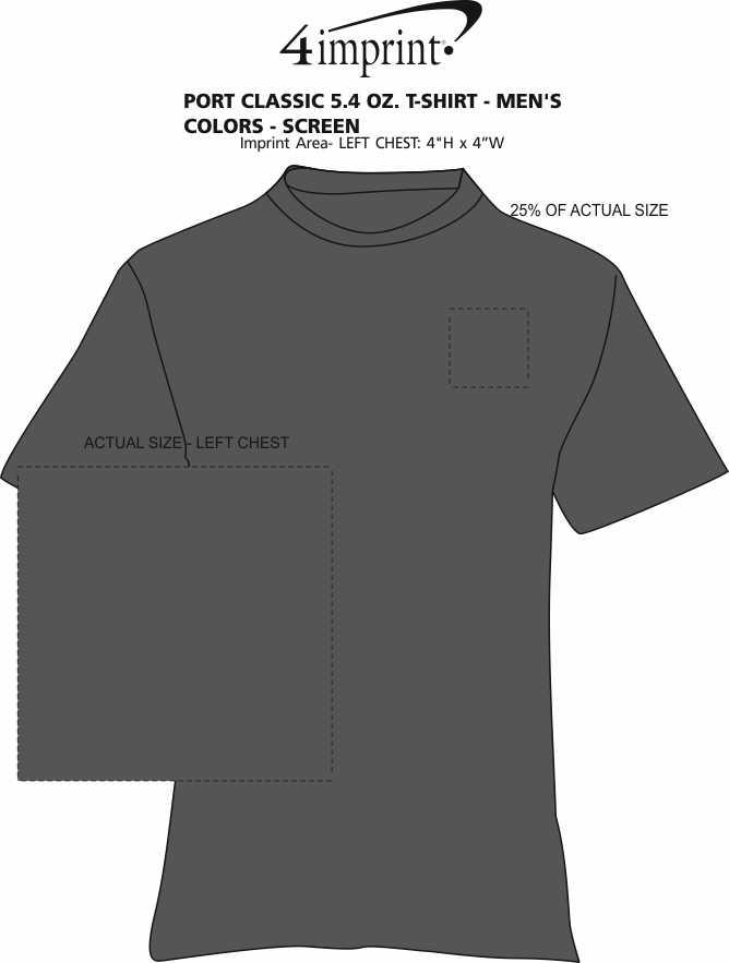 Imprint Area of Port Classic 5.4 oz. T-Shirt - Men's - Colors - Screen