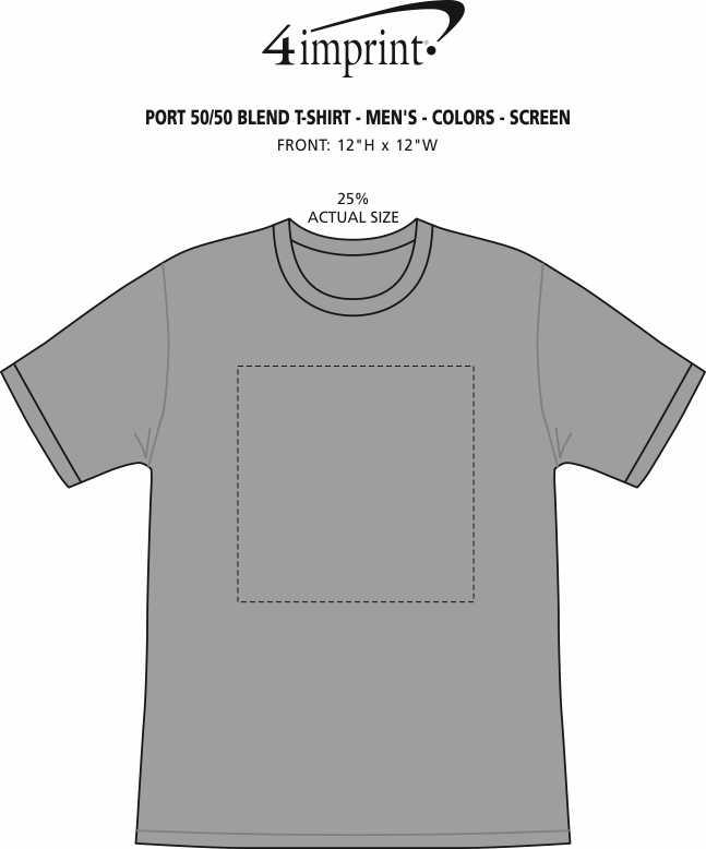 Imprint Area of Port 50/50 Blend T-Shirt - Men's - Colors - Screen