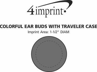 Imprint Area of Colorful Ear Buds with Traveler Case