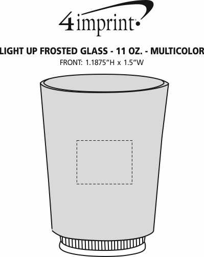 Imprint Area of Light-Up Frosted Glass - 11 oz. - Multicolor
