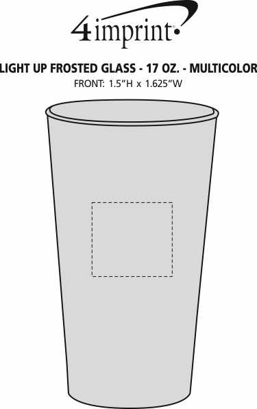 Imprint Area of Light-Up Frosted Glass - 17 oz. - Multicolor