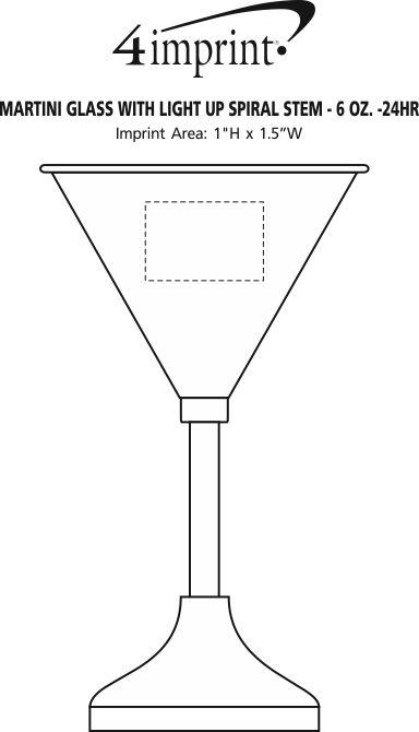 Imprint Area of Martini Glass with Light-Up Spiral Stem - 6 oz. - 24 hr