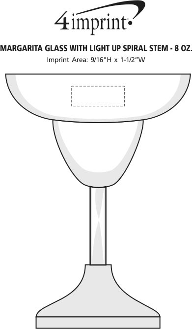 Imprint Area of Margarita Glass with Light-Up Spiral Stem - 8 oz.