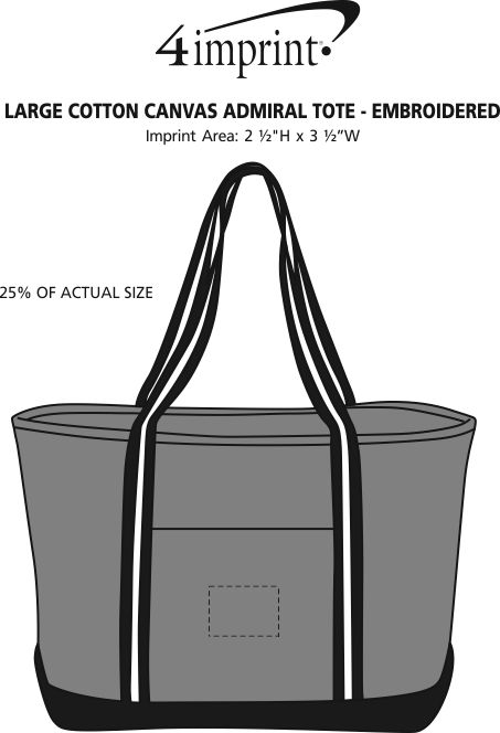 Imprint Area of Large Cotton Canvas Admiral Tote - Embroidered