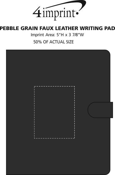 Imprint Area of Pebble Grain Faux Leather Writing Pad