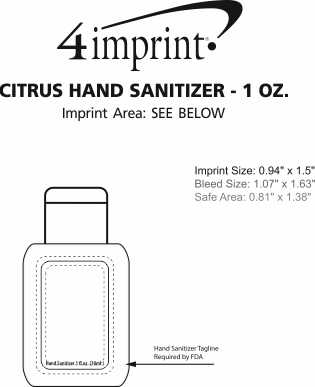 Imprint Area of Citrus Hand Sanitizer - 1 oz.