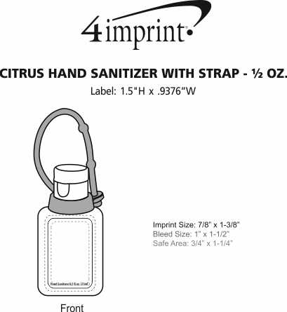 Imprint Area of Citrus Hand Sanitizer with Strap - 1/2 oz.