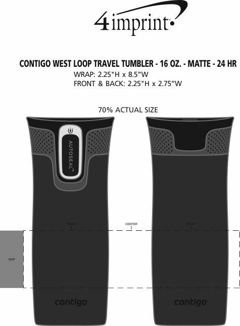 Imprint Area of Contigo West Loop Travel Tumbler - 16 oz. - Matte - 24 hr