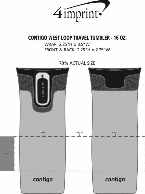 Imprint Area of Contigo West Loop Travel Tumbler - 16 oz.