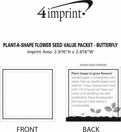 Imprint Area of Plant-A-Shape Flower Seed Packet - Butterfly