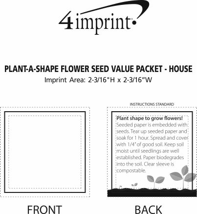 Imprint Area of Plant-A-Shape Flower Seed Packet - House