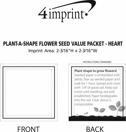 Imprint Area of Plant-A-Shape Flower Seed Packet - Heart