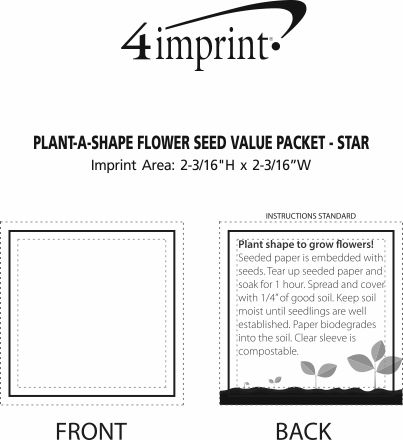 Imprint Area of Plant-A-Shape Flower Seed Packet - Star