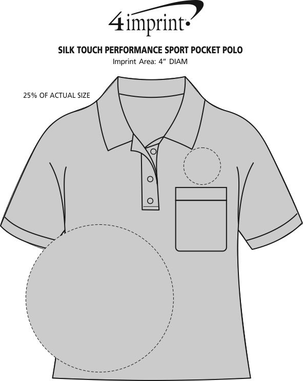 Imprint Area of Silk Touch Performance Pocket Sport Polo