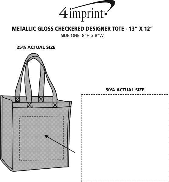 "Imprint Area of Metallic Gloss Checkered Designer Tote - 13"" x 12"""