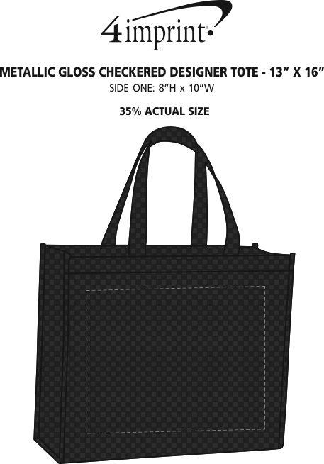 "Imprint Area of Metallic Gloss Checkered Designer Tote - 13"" x 16"""