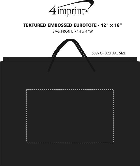"Imprint Area of Textured Embossed Eurotote - 12"" x 16"""