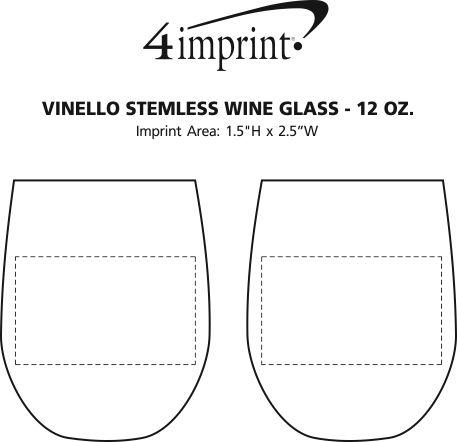 Imprint Area of Vinello Stemless Wine Glass - 12 oz.
