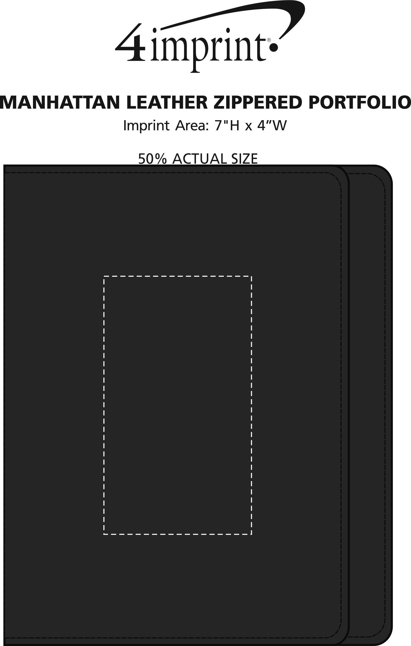 Imprint Area of Manhattan Leather Zippered Portfolio