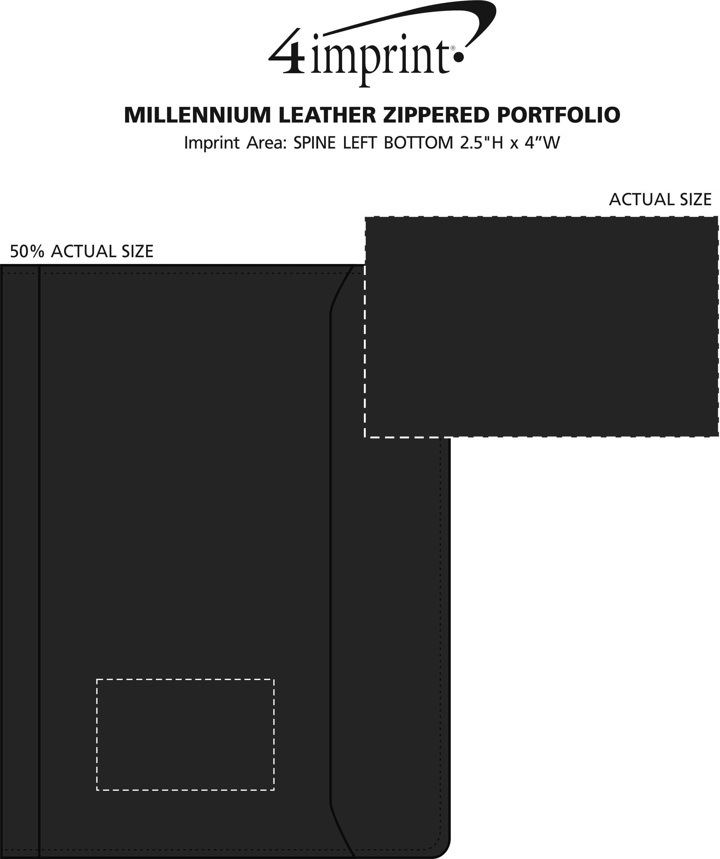 Imprint Area of Millennium Leather Zippered Portfolio