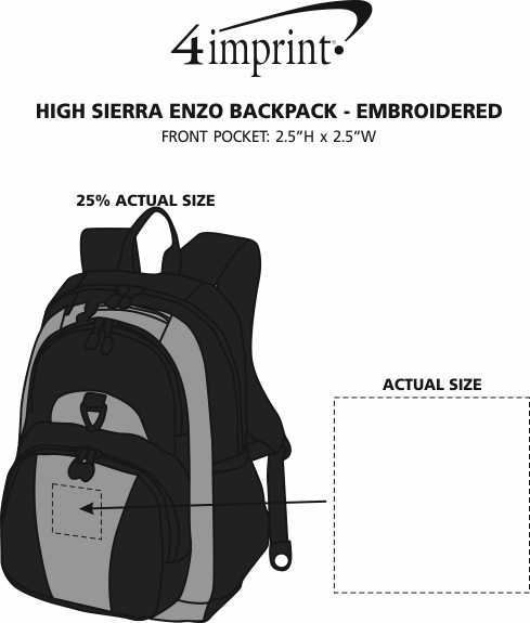 Imprint Area of High Sierra Enzo Backpack - Embroidered
