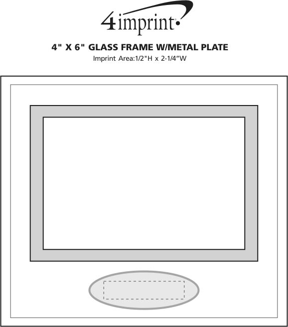 "Imprint Area of 4"" x 6"" Glass Frame with Metal Plate"