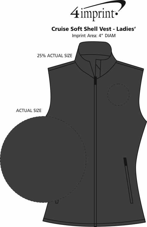 Imprint Area of Cruise Soft Shell Vest - Ladies'