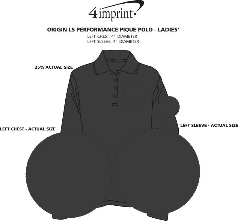 Imprint Area of Origin LS Performance Pique Polo - Ladies'