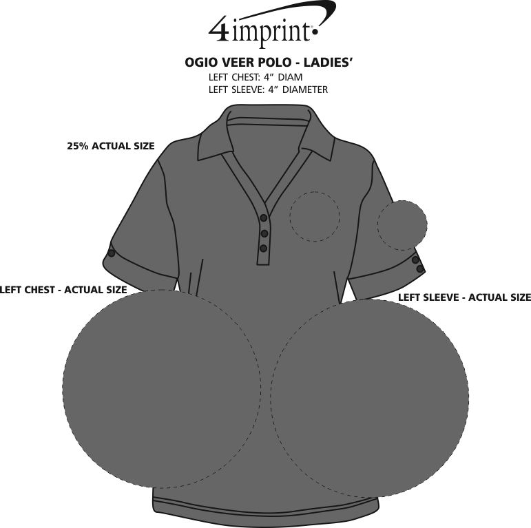 Imprint Area of OGIO Veer Polo - Ladies'