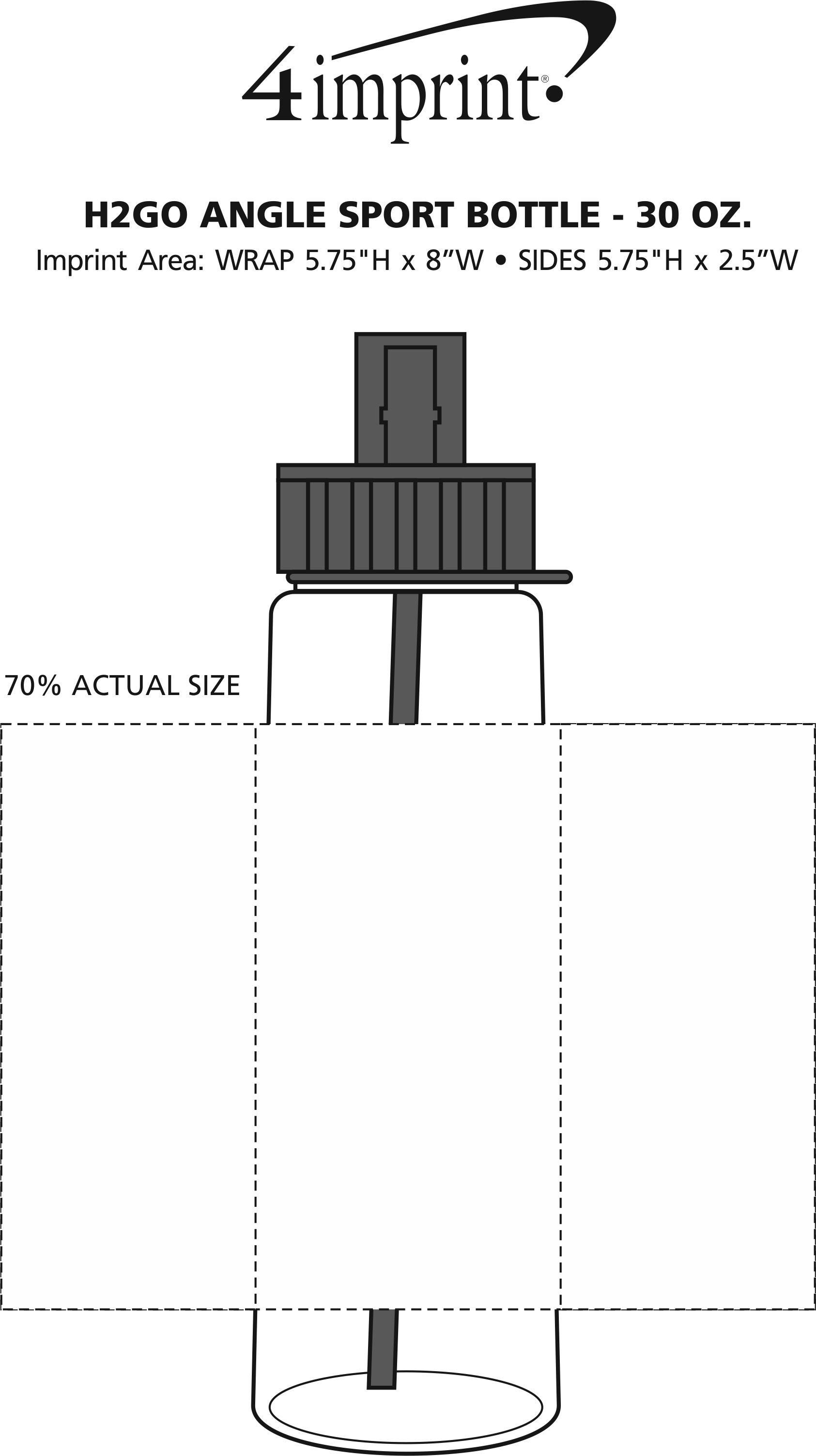 Imprint Area of h2go Angle Sport Bottle - 30 oz.
