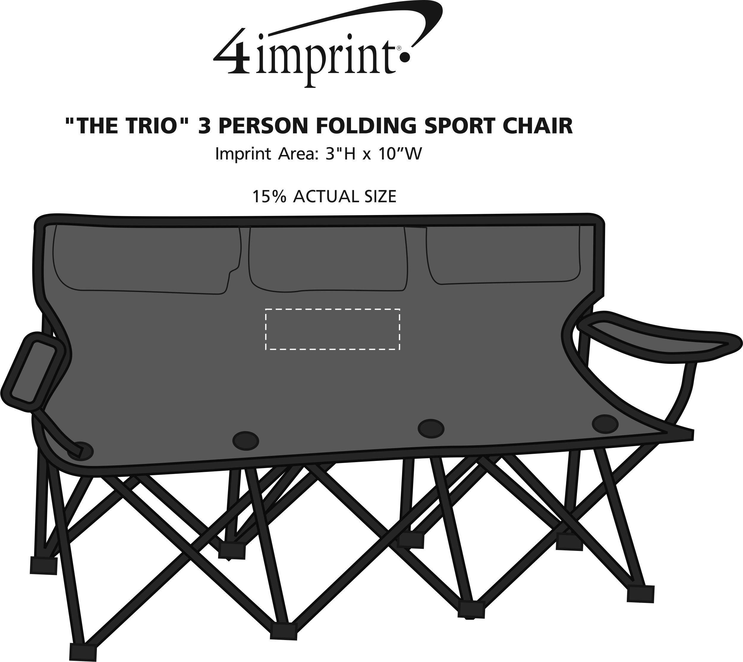 """Imprint Area of """"The Trio"""" 3 Person Folding Sport Chair"""