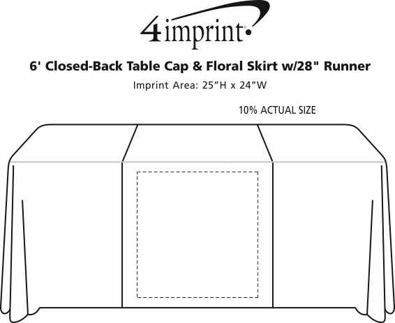 "Imprint Area of Serged 6' Closed-Back Table Cap & Floral Skirt with 28"" Runner"