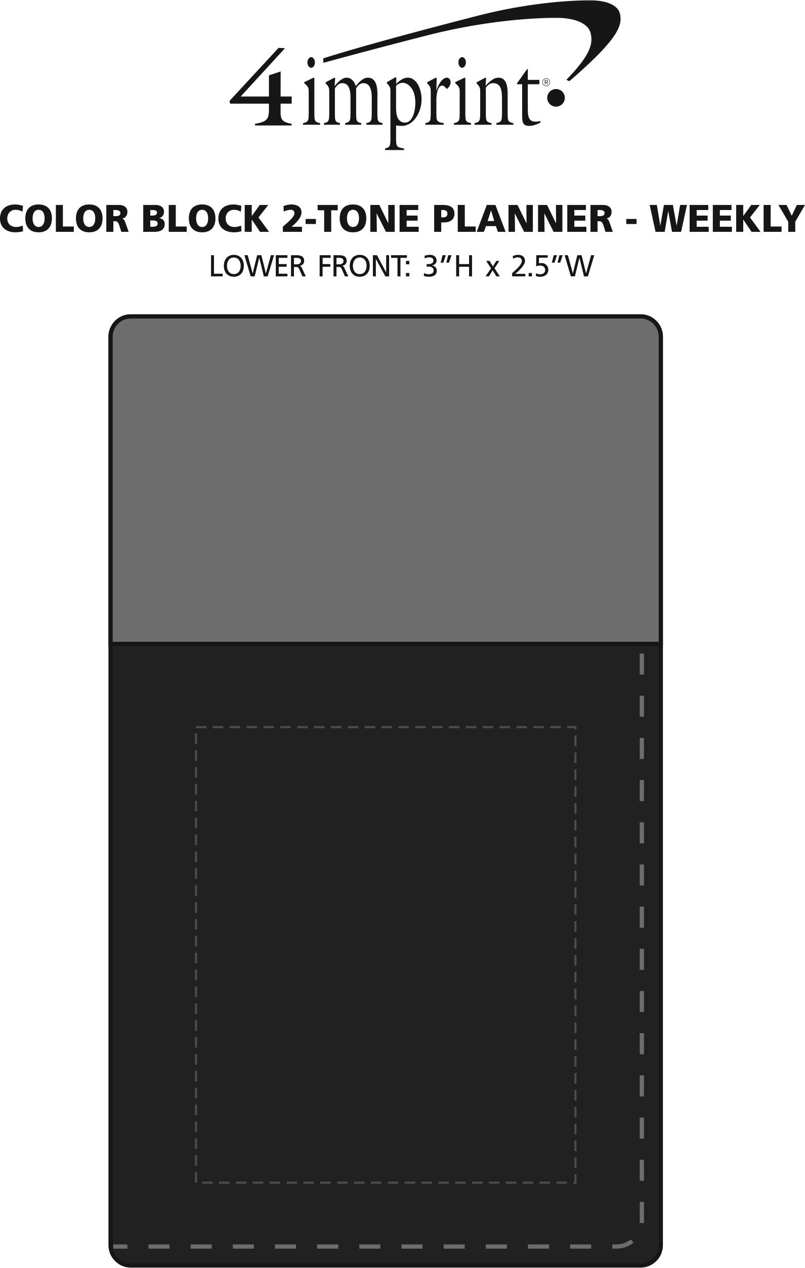 Imprint Area of Colorblock 2-Tone Planner - Weekly