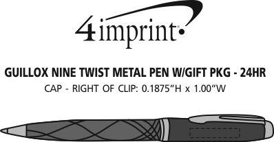 Imprint Area of Guillox Nine Twist Metal Pen with Gift Pkg - 24 hr
