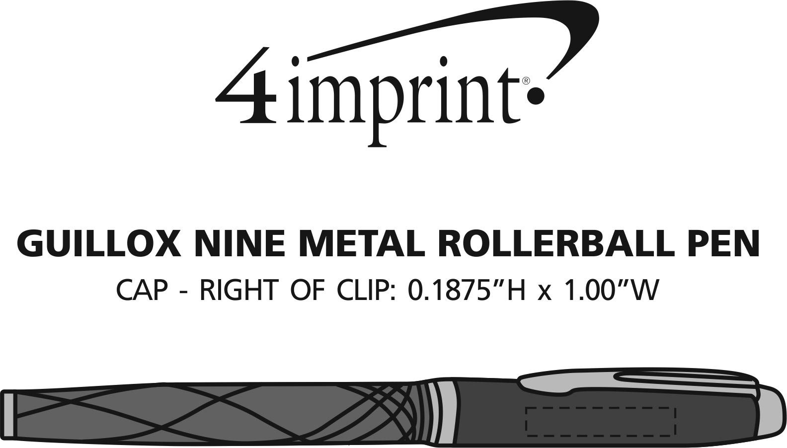 Imprint Area of Guillox Nine Rollerball Metal Pen