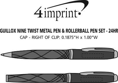 Imprint Area of Guillox Nine Twist Metal Pen & Rollerball Pen Set - 24 hr