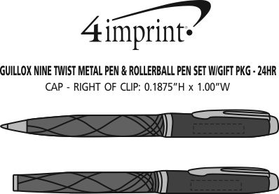 Imprint Area of Guillox Nine Twist Metal Pen & Rollerball Pen Set with Gift Package - 24 hr