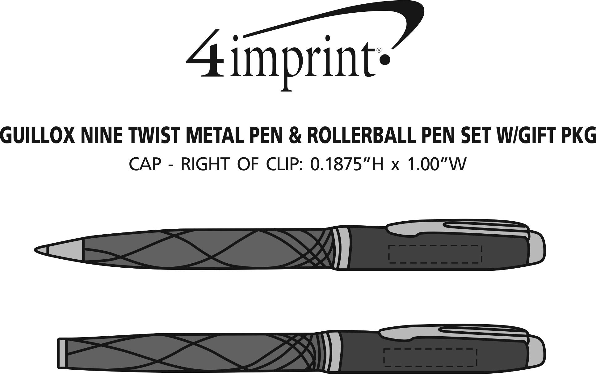Imprint Area of Guillox Nine Twist Metal Pen & Rollerball Pen Set with Gift Package