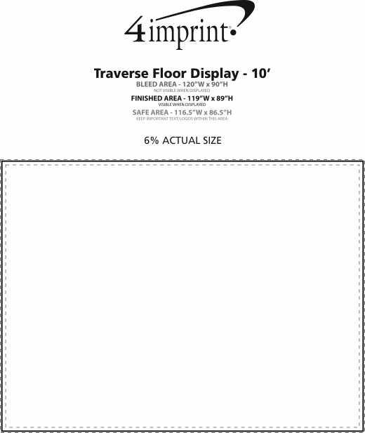 Imprint Area of Traverse Floor Display - 10'