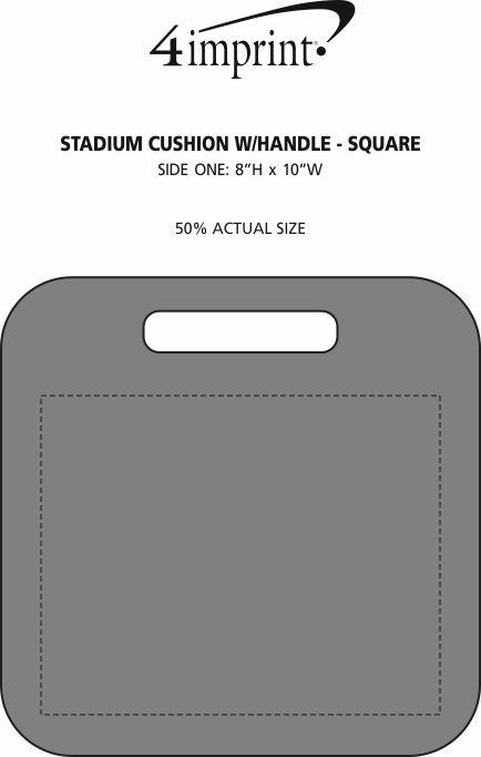 Imprint Area of Stadium Cushion with Handle - Square