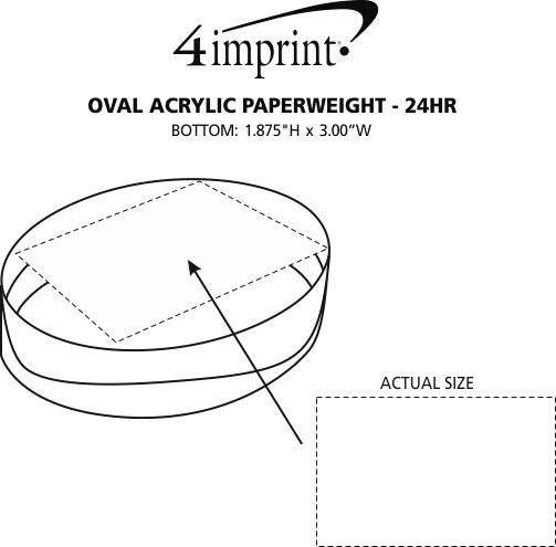 Imprint Area of Oval Acrylic Paperweight - 24 hr