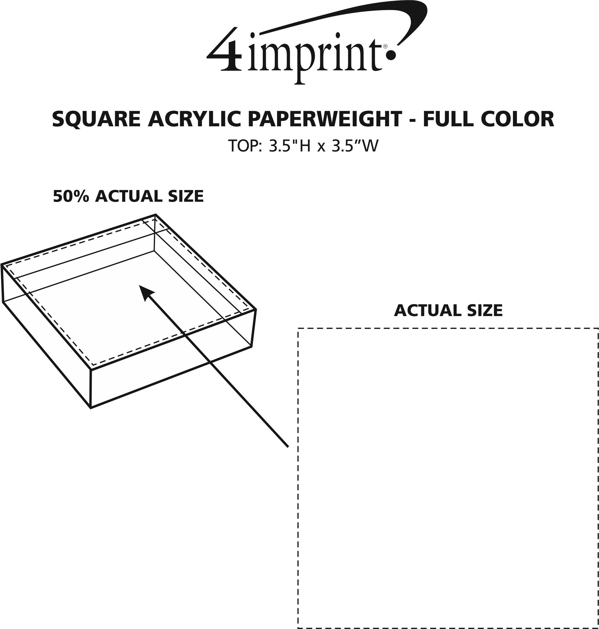 Imprint Area of Square Acrylic Paperweight - Full Color