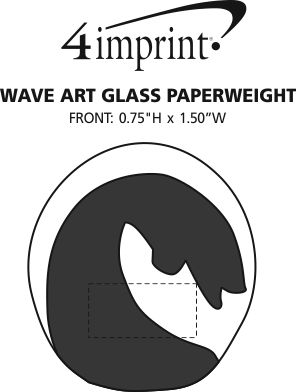 Imprint Area of Wave Art Glass Paperweight