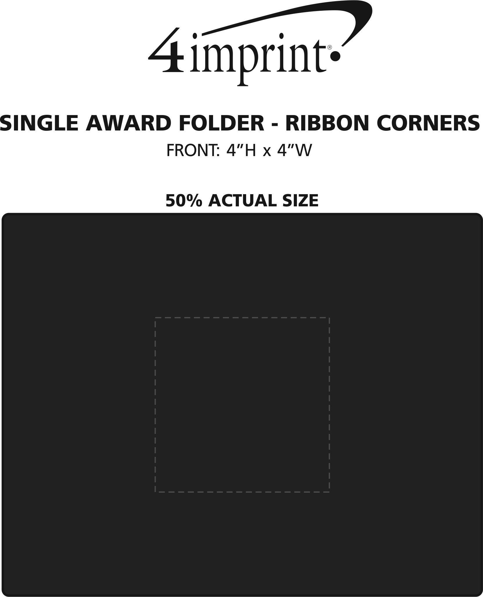 Imprint Area of Single Award Folder - Ribbon Corners
