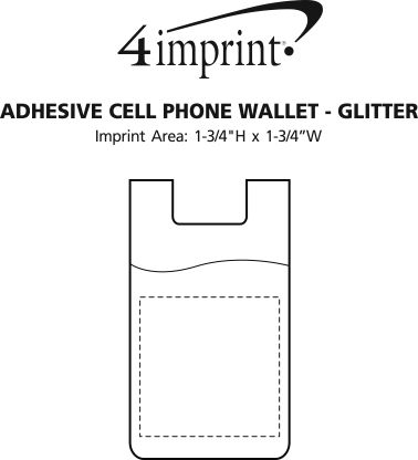 Imprint Area of Adhesive Cell Phone Wallet - Glitter