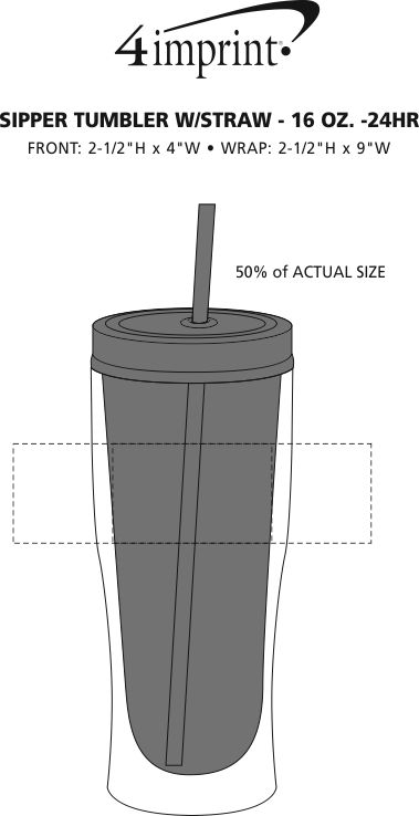 Imprint Area of Sipper Tumbler with Straw - 16 oz. - 24 hr