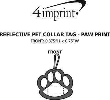 Imprint Area of Reflective Pet Collar Tag - Paw Print