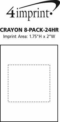 Imprint Area of Crayon 8-Pack - 24 hr